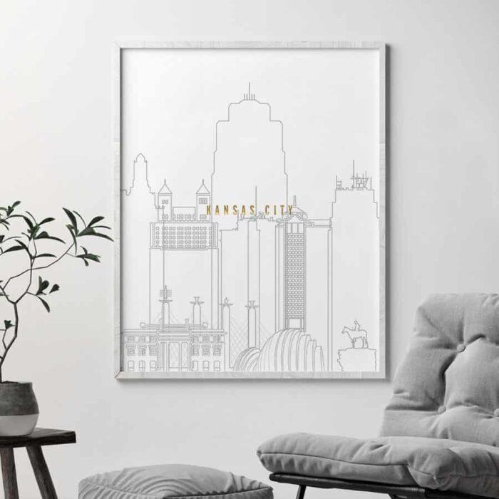 Kansas City skyline print grey gold second