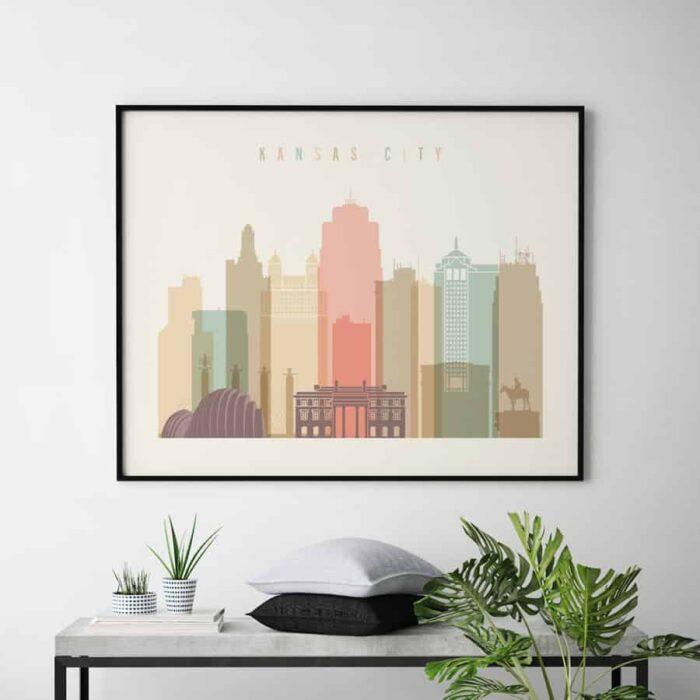 Kansas City skyline print landscape pastel cream second
