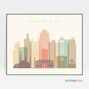 Kansas City skyline print landscape pastel cream