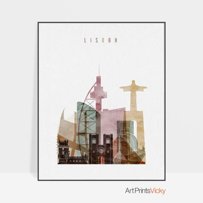 Lisbon skyline poster watercolor 1