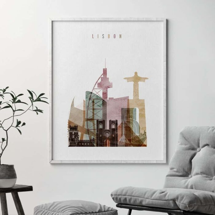 Lisbon skyline poster watercolor 1 second
