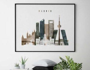 Madrid skyline poster landscape watercolor 2 second