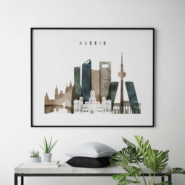 Madrid skyline poster landscape watercolor 2 second