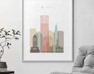 Miami skyline print pastel white second