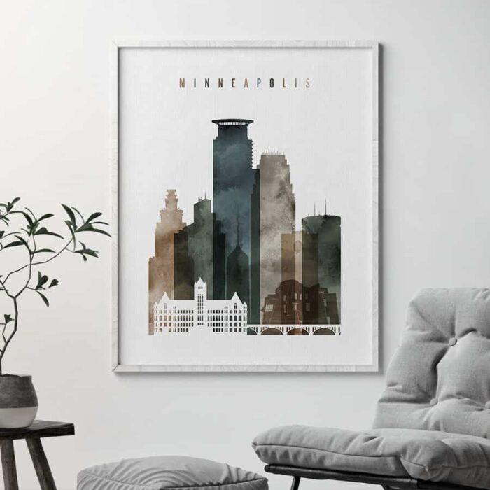 Minneapolis wall art print watercolor 2 second