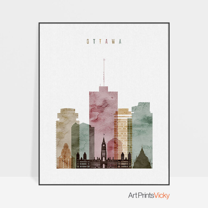 Ottawa skyline poster watercolor 1