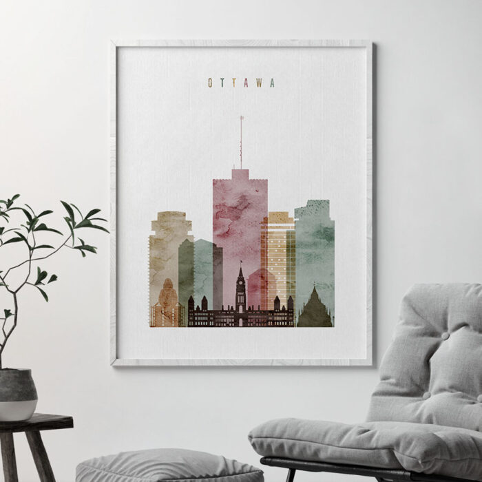 Ottawa skyline poster watercolor 1 second