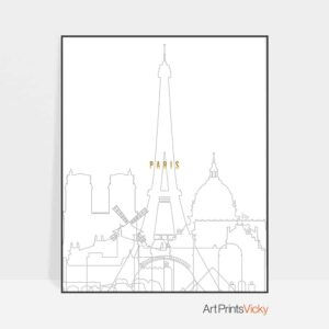 Paris skyline poster grey gold