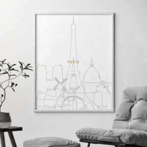 Paris skyline poster grey gold second