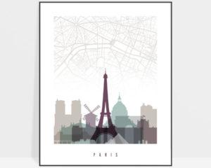 Paris city map poster pastel 2