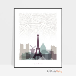 Paris city map poster pastel 2
