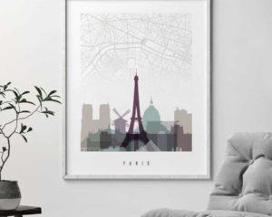 Paris city map poster pastel 2 second