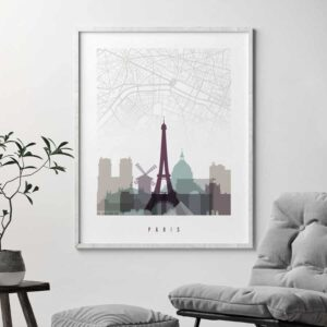 Paris city map poster pastel 2 second