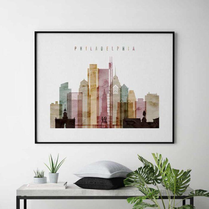 Philadelphia print landscape watercolor 1 second