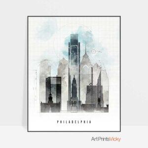 Philadelphia art print skyline urban