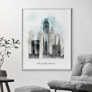 Philadelphia art print skyline urban second