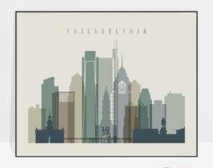 Philadelphia wall art landscape earth tones 1