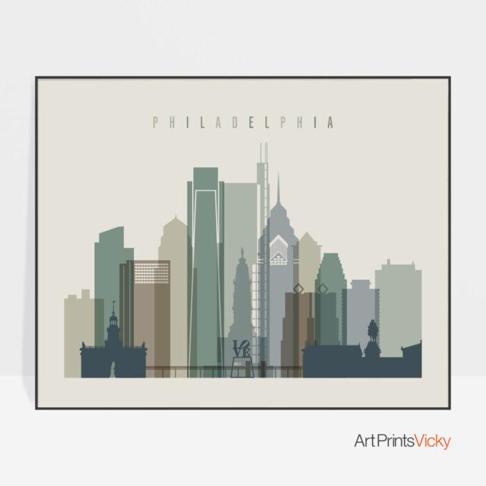 Philadelphia print landscape earth tones 1