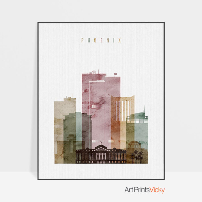 Phoenix skyline print watercolor 1