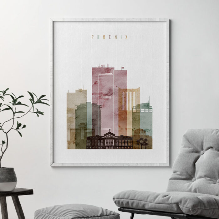 Phoenix skyline print watercolor 1 second