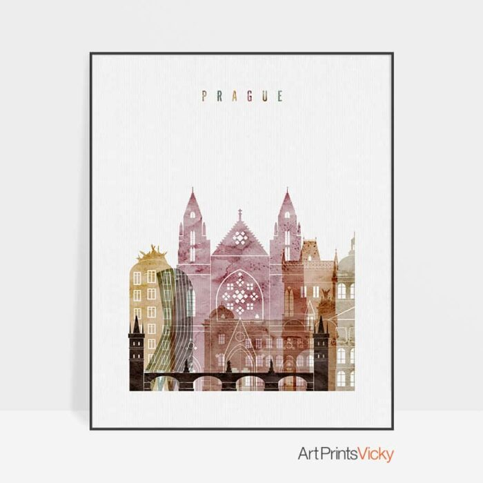 Prague skyline poster watercolor 1
