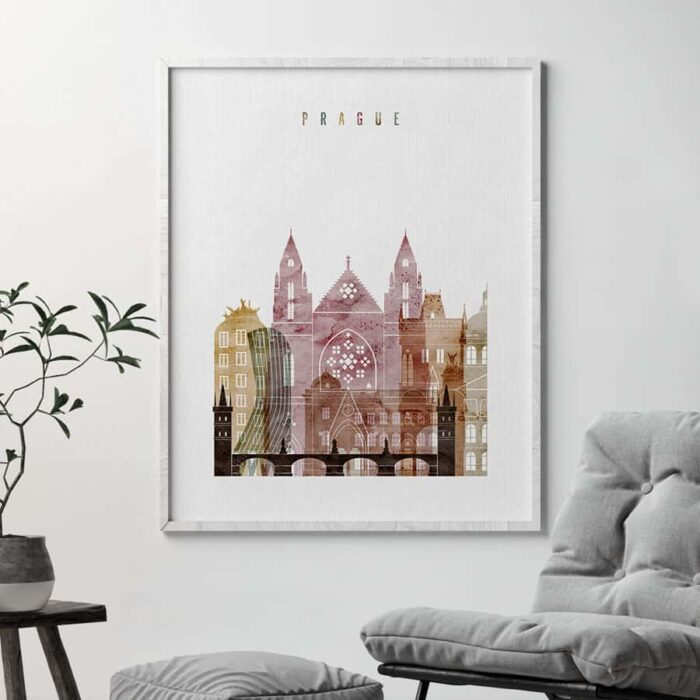 Prague skyline poster watercolor 1 second