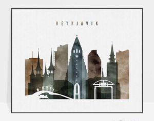 Reykjavik skyline poster landscape watercolor 2
