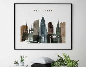 Reykjavik skyline poster landscape watercolor 2 second