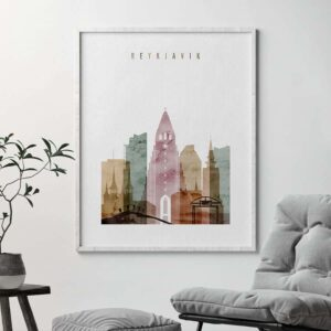 Reykjavik skyline poster watercolor 1 second