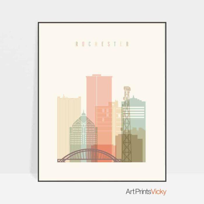 Rochester NY skyline print pastel cream