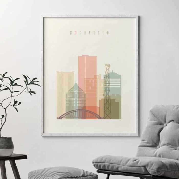 Rochester NY skyline print pastel cream second