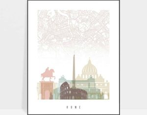 Rome map poster pastel white