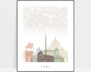 Rome map poster pastel white