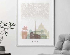 Rome map poster pastel white second