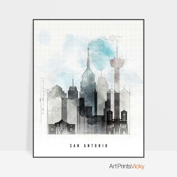 San Antonio art print skyline urban