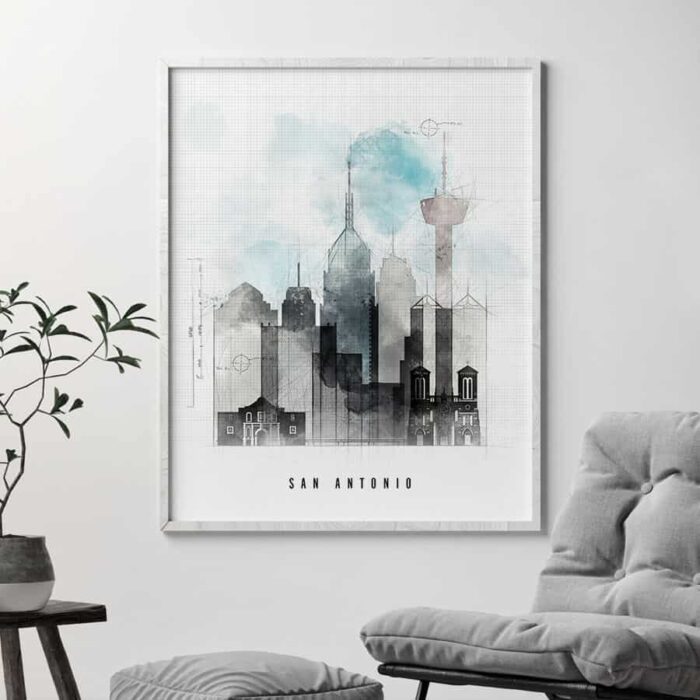 San Antonio art print skyline urban second