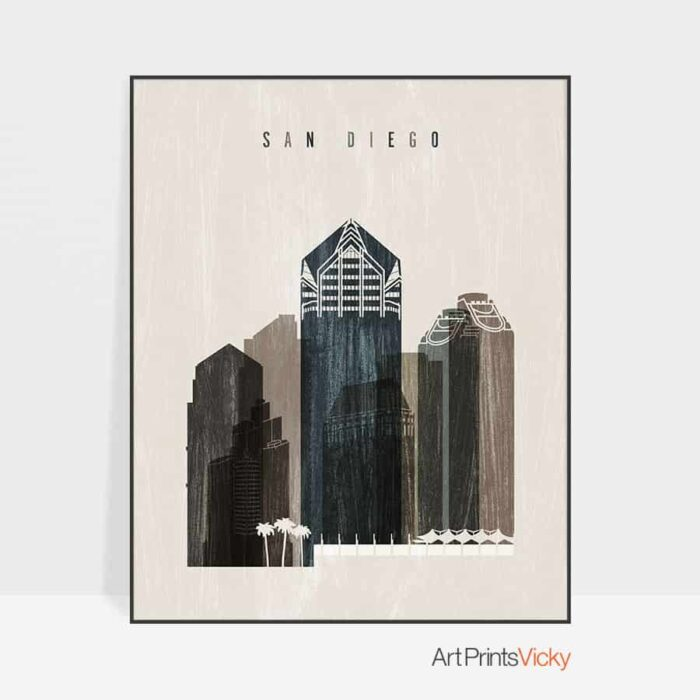 San Diego skyline print distressed 2