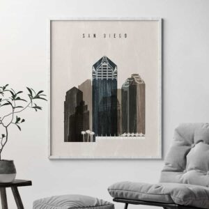 San Diego skyline print distressed 2 second