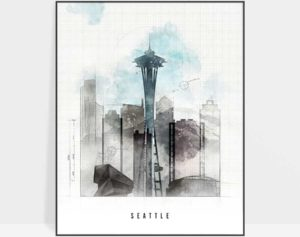 Seattle art print skyline urban