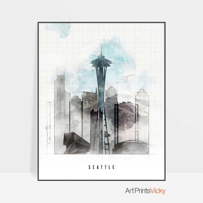 Seattle Skyline Poster Urban