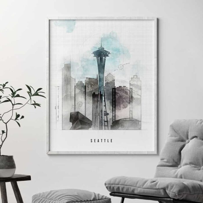 Seattle art print skyline urban second