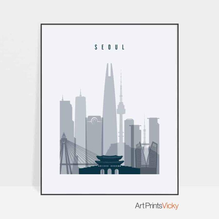 Seoul skyline poster grey blue