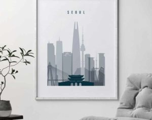 Seoul skyline poster grey blue second