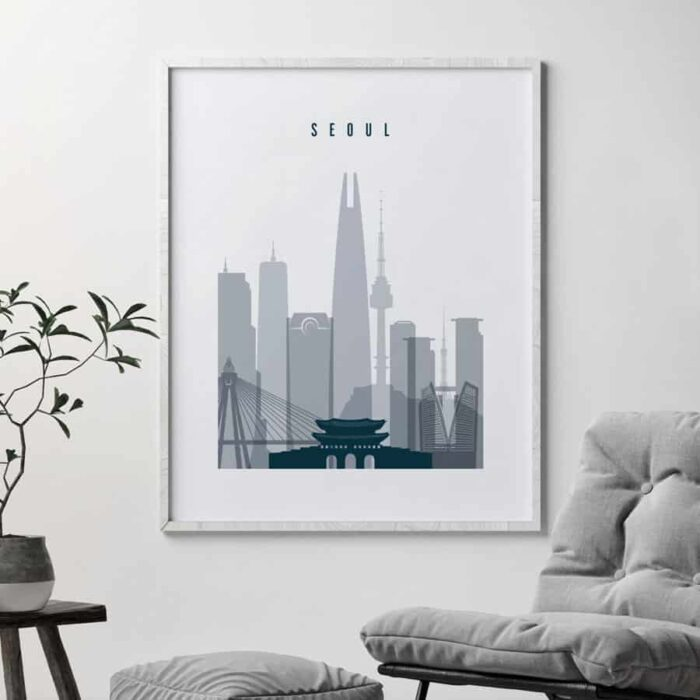 Seoul skyline poster grey blue second
