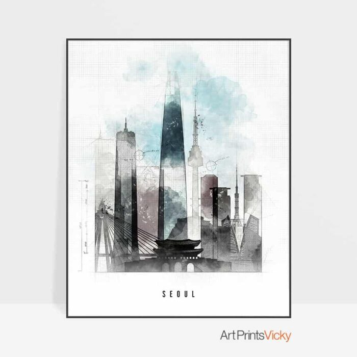 Seoul skyline poster urban