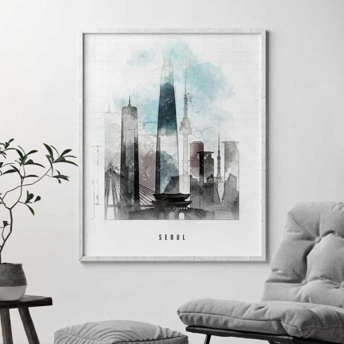 Seoul skyline poster urban second
