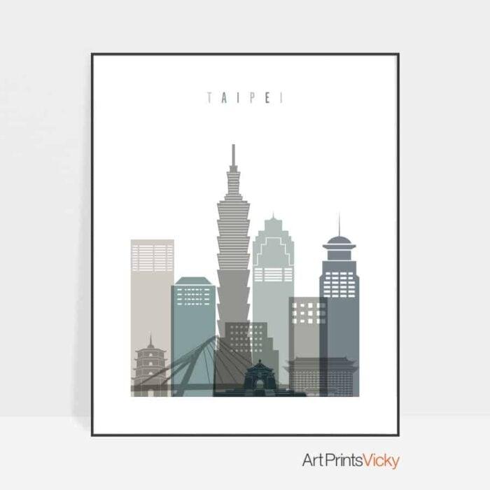 Taipei skyline poster earth tones 4