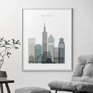 Taipei skyline poster earth tones 4 second