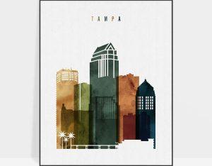 Tampa skyline print watercolor 3