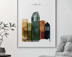 Tampa skyline print watercolor 3 second